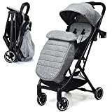 BABY JOY Stroller, Pram Baby Carriage, Lightweight Stroller with 5-Point Harness, Multi-Position Reclining Seat, Warm Foot Cover, Extended Canopy, Easy Folding for Travel, Airplane Compartment, Gray