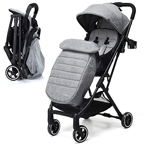 BABY JOY Stroller, Pram Baby Carriage, Lightweight Stroller with 5-Point Harness, Multi-Position Reclining Seat, Warm Foot Cover, Extended Canopy, Easy Folding for Travel, Airplane Compartment (Gray) (Best Umbrella Stroller For Winter)