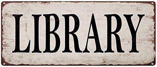 Yohoba Library Metal Signs Vintage Look Rustic Metal Signs R