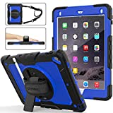 SEYMAC stock iPad 6th 5th Generation Case - Shockproof [Full-Body] Rugged Armor Case with 360 Rotating Stand [Pencil Holder] [Screen Protector] Hand Strap for iPad 6th 5th Air 2 Pro 9.7 (Blue+Black)