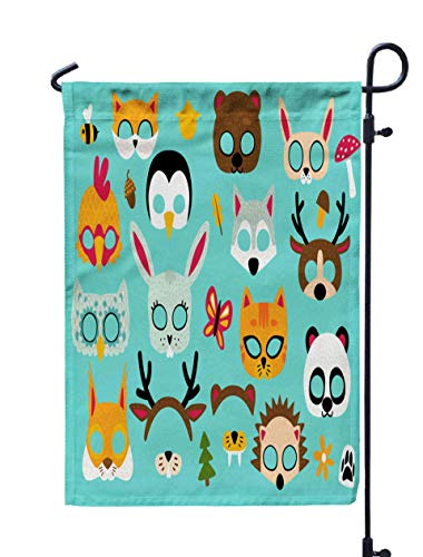 Shorping Thanksgiving Garden Flag, 12x18Inch for Holiday and Seasonal Double-Sided Printing Yards Flags Collection of Wild Animals Photo Booth Props for Kids Cute Cartoon Masks]()