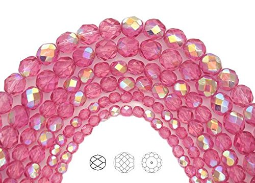 (3mm (405 beads) Crystal Pink Rose AB coated, Czech Fire Polished Round Faceted Glass Beads, 3x16 inch strand)