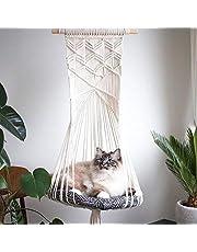 Macrame katt hängmatta säng, husdjur hängmatta, hand stickning hängande katt bon sväng hängmatta husdjurstillbehör för hem trädgård dekoration