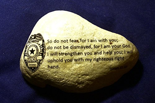 Police Officer gift idea law enforcement stone Isaiah 41:10