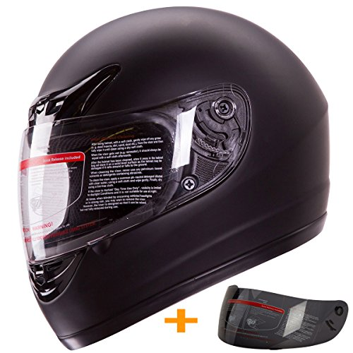 Matte Flat Black Full Face Motorcycle Helmet DOT +2 Visors Comes with Clear Shield and Free Smoked Shield (Medium)
