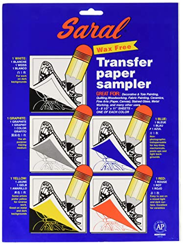 Saral Wax Free Transfer Paper Sampler Includes 1 Each of White Graphite, Yellow, Blue and Red