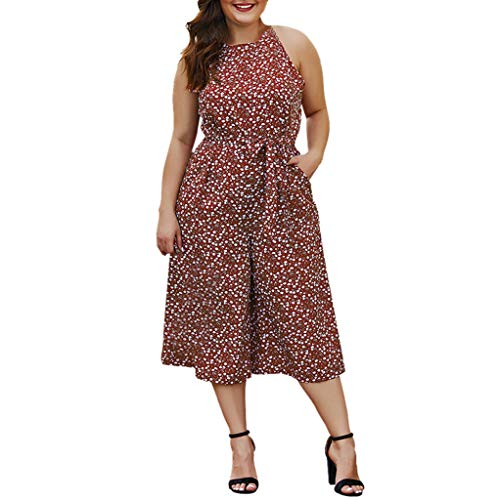 Women's Elegant Sleeveless Halter Neck Jumpsuits Polka Dot Print Belted Rompers Lightweight Soft Wide Leg Palazzo Capri Pants Summer Lounge Beach Playsuit