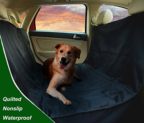 Deluxe Hammock Pet Seat Cover-Warterproof, Quilted, Machine washable Car Seat Cover for Pets with Bonus Pet Seat Belt, Lifetime Warranty (Black)