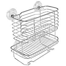 InterDesign Lineo Power Lock Bathroom Shower Caddy Basket for Shampoo, Conditioner, Soap - Stainless Steel