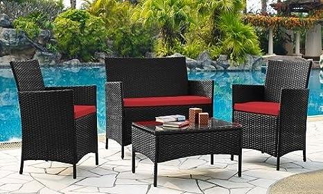 Sofá para patio y mesa de café con 4 asientos de mimbre con ...