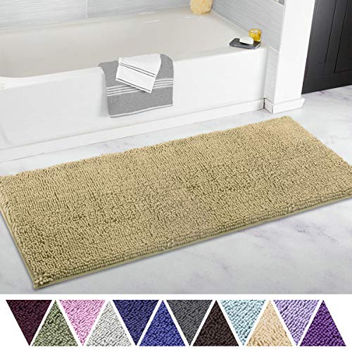 ITSOFT Non-Slip Shaggy Chenille Soft Microfibers Bathroom Rug with Water Absorbent, Machine Washable, 21 x 47 Inch Beige