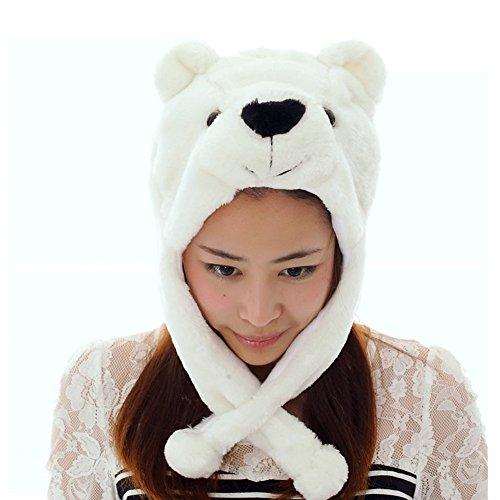 JOYHY Unisex Winter Plush Ear Flap Animal Hats Polar (Polar Bear Costumes Pattern)