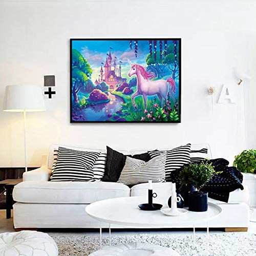 5d Diamond Painting Kits Full Round Drill Rhinestone Pictures for Home Wall Decor 12x16Inch Castle Unicorn