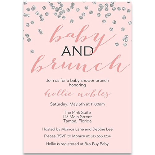 Baby Shower Invitations, Baby and Brunch, Blush, Gold, Champagne, Mimosa, Toast, Girl, Confetti, Glitter, Set of 10 Custom Printed Invites with White ()