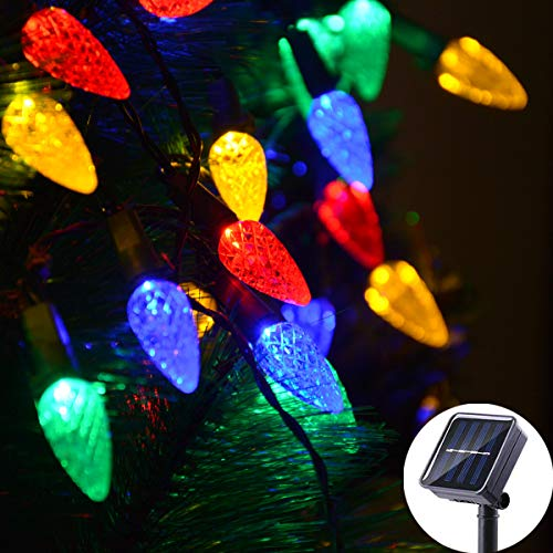 Solar Christmas Lights Outdoor C6 Strawberry String Lights
