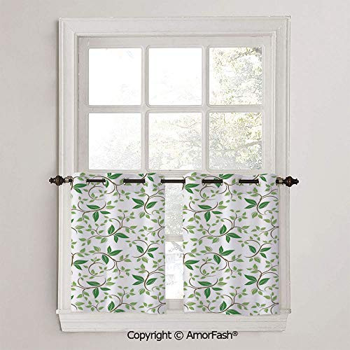 PUTIEN Leaves Blackout Curtains Tailored Short Curtains for Bathroom Window Covering Kitchen,W42 x L24-Inch,Ivy Patterns with Tiny Fancy Green Leaves Branches Creme Contemporary Illustration - Light Bath Bracket Creme