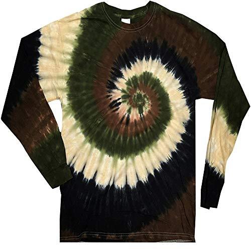 DARESAY Tie Dye Style Long Sleeve T-Shirt, Camo Swirl, X-Large