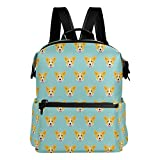 Cute Welsh Corgi Dog Pattern Lightweight Waterproof Polyester Large Capacity Backpack Campus Backpack Travel Daypack Mint Green