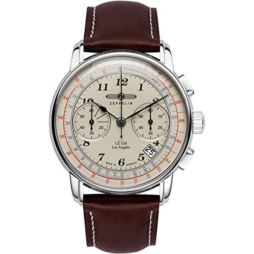 Zeppelin 7614-1 LZ126 Los Angeles Beige Dial Mens Leather Watch