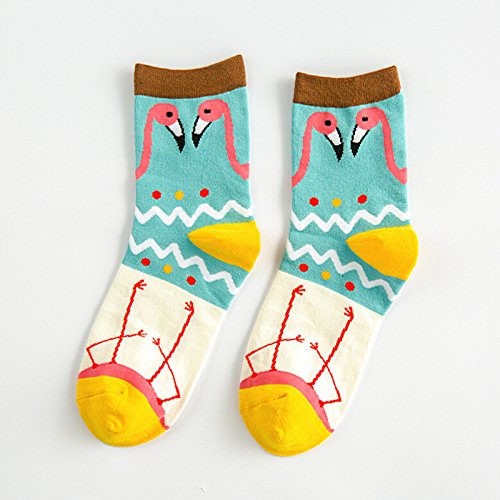5 Pair//Lot in Tube Female Women Girl Sox Colorful Cute Animal Bird Pattern Stretch Cotton Socks Worm and Comfortable