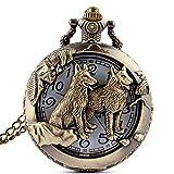 GORBEN Retro Wolves Quartz Pocket Watch Steampunk Pocket Watches Box Gifts