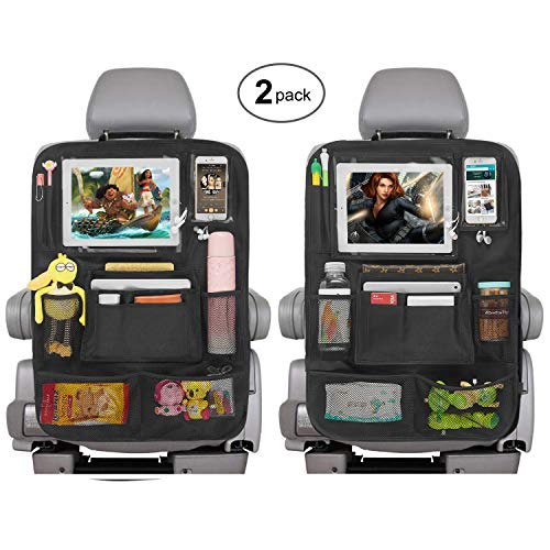 Car Backseat Organizers, Kick Mats Seat Organizer for Kids – 2 Touch Screen Holder for Phone & Tablet + 6 Mesh Storage Pockets for Toddlers Travel Vehicle Interior Accessories – B/Black 2 Pack