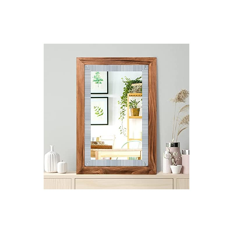 """Rustic Wall Mirror with Wood Frame 20"""" x 30"""" - Ideal for Bathroom Mirror, Vanity Mirror, Decorative Mirror - Great Rustic Mirror, Wood Mirror, Farmhouse Mirror, and Large Framed Mirror Décor"""