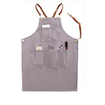Heavy Duty Thicken Cotton Canvas Workmen Aprons for Men Women Unisex Tool Apron Carpenter Pottery DIY Barber Utility Workshop Apron with Adjustable Leather Straps for Gardener Grey