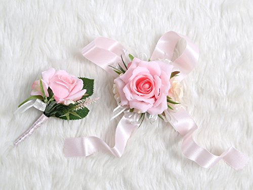 Wedding Prom Wrist Corsage Single Silk rose and Boutonniere Set Pin Ribbon Included (Classic pink ()