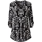 FDelinK Clearance! Womens Floral Printed Tunic Shirts 3/4 Roll Sleeve V Neck Loose Blouse Top