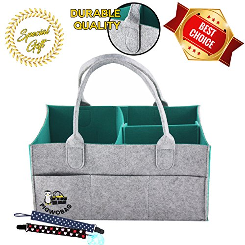 Caddy Organizer | Portable Diaper Storage for Baby Diapers, Toys, Wipes, Clothes & Nursery Storage Bin | Large Unisex Tote Storage Basket | Great Baby Shower & Registry Gift ()