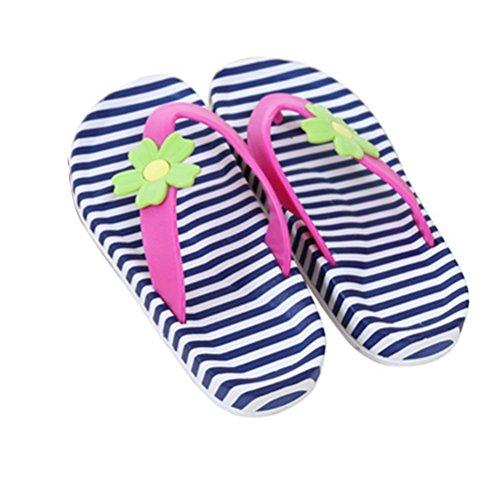 TELLW Niños Niñas Niños Zapatillas Frescas pisos De Madera Zapatillas De CASA Para Padres e Hijos Zapatos De Playa Para Niños Bebé blaue Blume