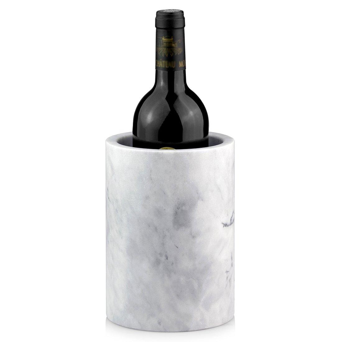 Linkidea Elegant Wine Cooler, Champagne Chiller, Ice Wine Cooler, Flower Vase, Storage Holder, Kitchen Utensil Holder Natural Marble Multi-Functional Tool Crock (White)