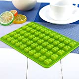 [Silicone Mold] 50 Cavity Silicone Mold Tray, Perfect for Candy, Chocolate, Gummy Bears, Ice, and More! Comes w/ Dropper [Green]