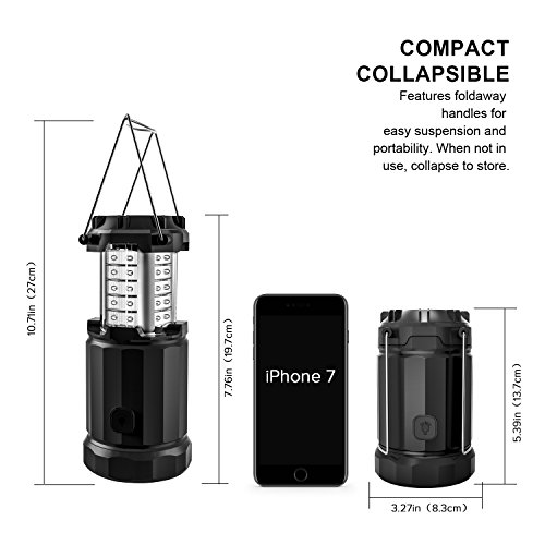 Etekcity Camping Lantern Led Magnetic Collapsible Lights with 6 AA Batteries, Brightness Adjust Compact Gifts for Emergency, Survival, Hurricane, Power Outage (Black, Upgraded CL30)