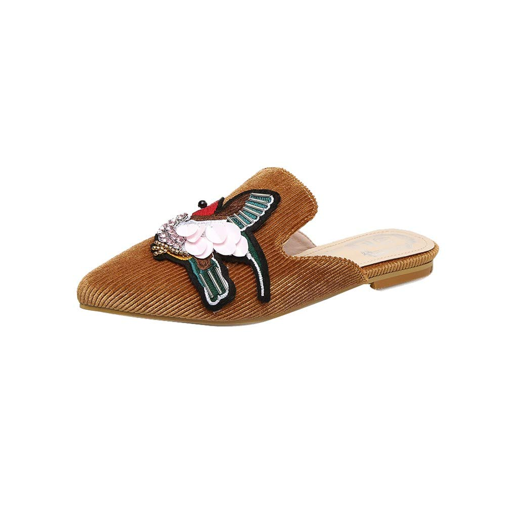 YUCH Chaussures Femme Paresseuses Chaussures Pointues Brodées Femme Chaussures Paresseuses Chaussures Brown c259eed - therethere.space