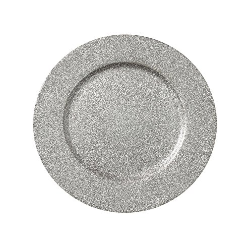 "Kashi Home Decorative Glitter Charger Plate, 13"" Round Holiday Tabletop Charger Plate, Silver"
