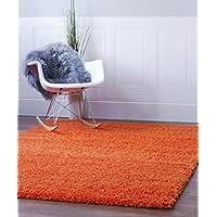 Orange Shag Rug, 5-Feet by 8-Feet, 5x8 Solid & Thick...