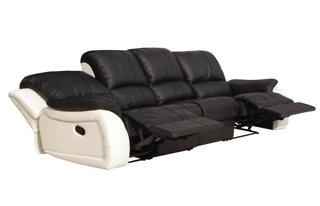 Voll-Leder Couch Sofa-Garnitur-Relaxsessel Polstermöbel-Fernsehsessel 5129-4-SW