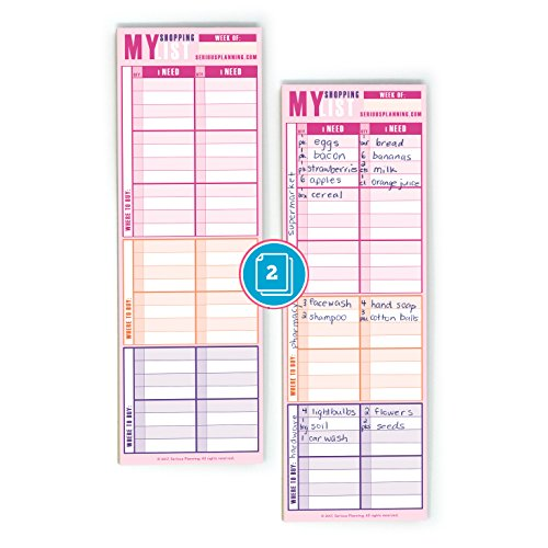 "Shopping Made Easy: A Serious Shopping / Grocery List (Pack of 2), Hand Size - 10.4"" x 3.4""; 50 Sheets Each Pad; Large Columns With Plenty Of Space To Write; Includes Magnet For Easy Hanging"