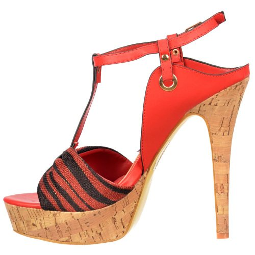 Ladies Tela Del Cork Pie Platform Negro Rojo Bar Onlineshoe Sandal Detalle T Dedo Stiletto fwqxSCST