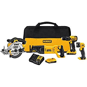 Image of DEWALT 20V MAX Combo Kit, Compact 4-Tool (DCK423D2) Home Improvements
