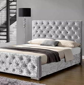 Florida Crushed Velvet Diamante Upholstered Bed Frame 3FT 4FT 4FT6 5FT!