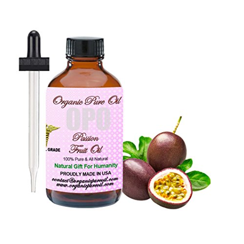 Passion Fruit Oil 4 oz 100% Pure Natural Organic Cold Pressed Maracuja Oil Fruit Seed Unrefined Extra Virgin Premium Pharmaceutical Grade Partially Filtered for Hair Face Body Skin By Organic Pure Oil