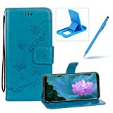 Strap Leather Case for Samsung Galaxy Note 8,Blue Wallet Leather Cover for Samsung Galaxy Note 8,Herzzer Classic Pretty Butterfly Lotus Drawing Embossed Magnetic PU Leather Foldable Stand Card Holders Smart Telephone Case with Soft Inner