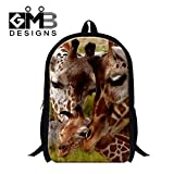 Generic Giraffes 3D Printing School Backpack for Students Mens Fashion Hiking Bags