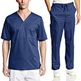 Cherokee Mens Luxe Scrub Set Super-Soft Fabric Medical/Dentist Uniform with V-Neck Top & Fly Front Drawstring Pant (Large, Navy)