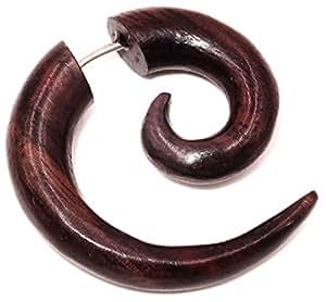 Piercing de madera dilatación falsa - Pendiente étnico, espiral de madera: Amazon.es: Joyería