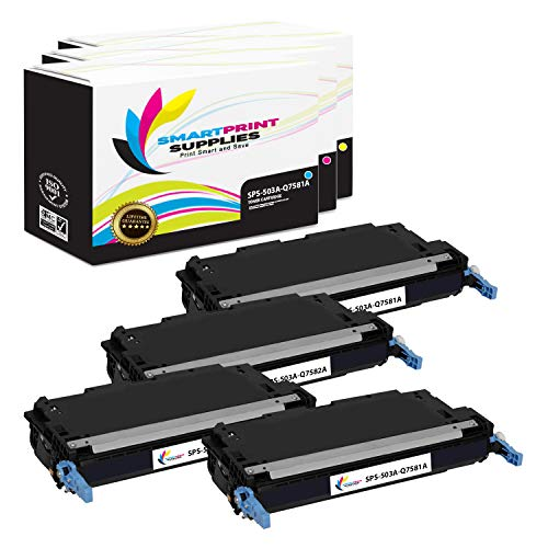 Smart Print Supplies Compatible 503A Toner Cartridge Replacement for HP Color Laserjet 3800, CP3505 Printers (Q6470A Black, Q7581A Cyan, Q7583A Magenta, Q7582A Yellow) - 4 Pack