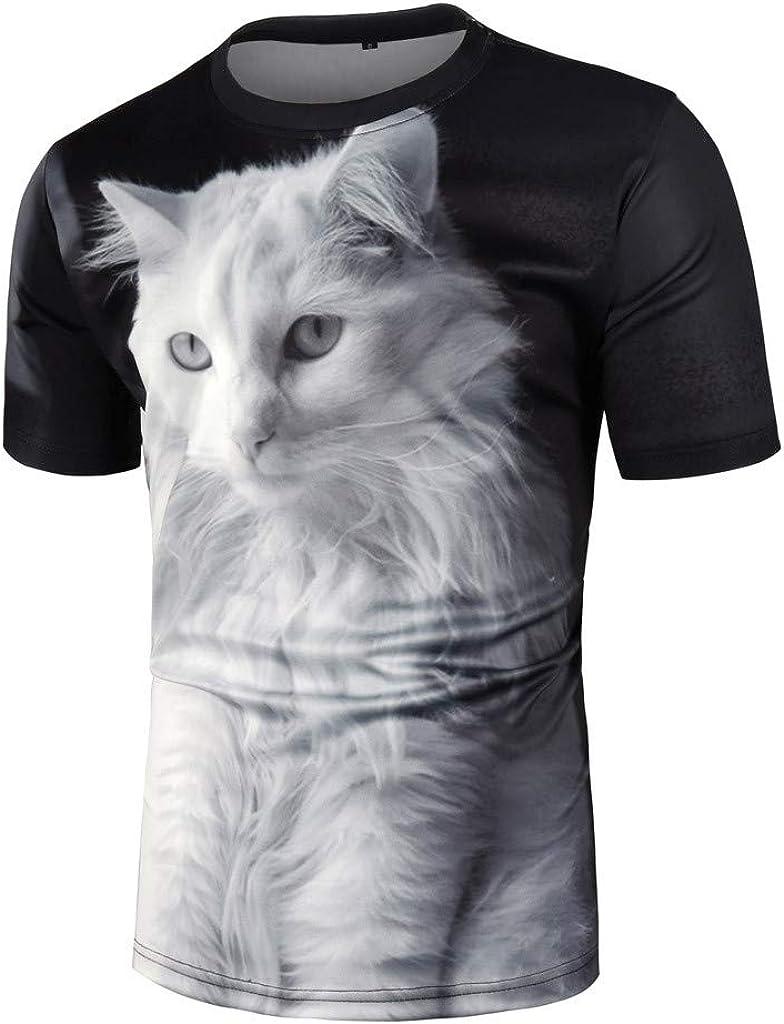 4Clovers Unisex 3D Cute Cat T Shirts Couples Summer Short Sleeve T-Shirts Casual Tees